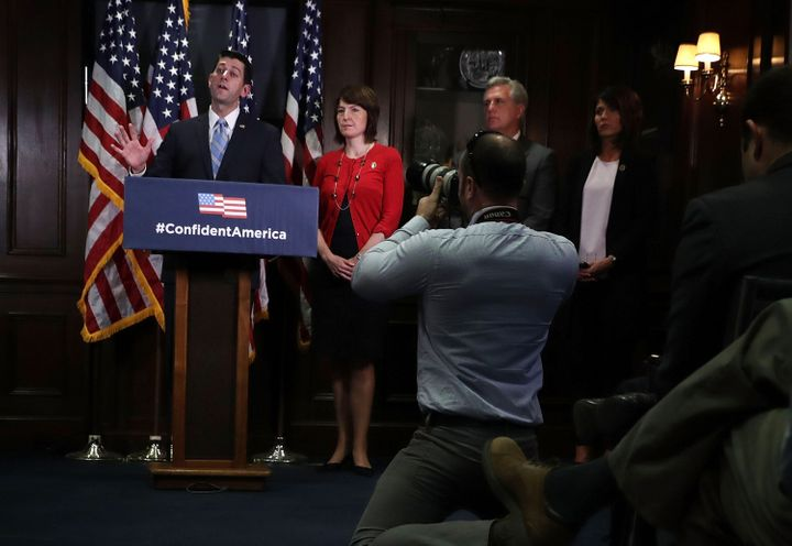 House Speaker Paul Ryan, left, and Majority Leader Kevin McCarthy, second from right, have been promising swift action on the
