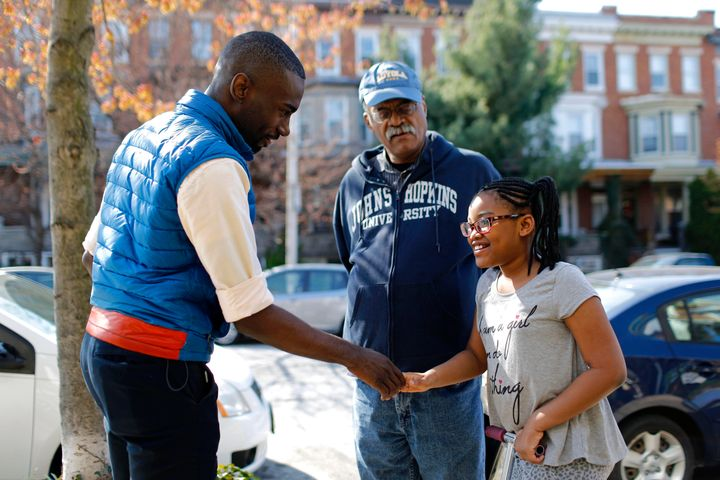 Mckesson canvasses in the Charles Village neighborhood of Baltimore in March.