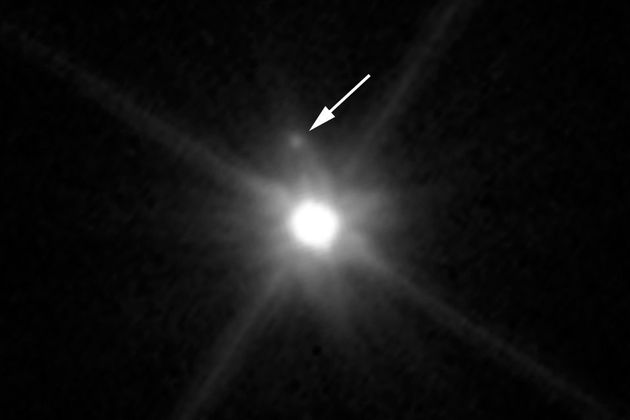 This Hubble Space Telescope image reveals the first moon ever discovered around the dwarf planet Makemake....