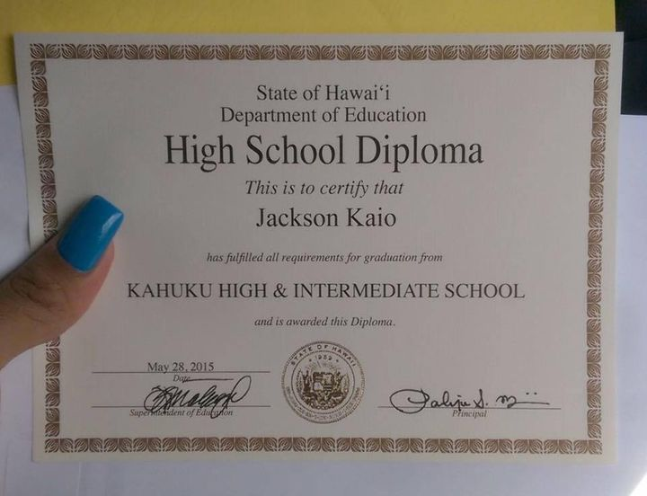Jennea (formerly Jackson)'s high school diploma, dated graduation day,May 28, 2015.
