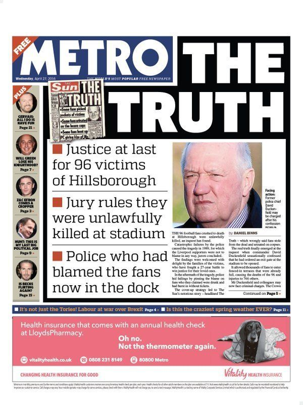 Sun And Times Front Pages Ignore Hillsborough Disaster