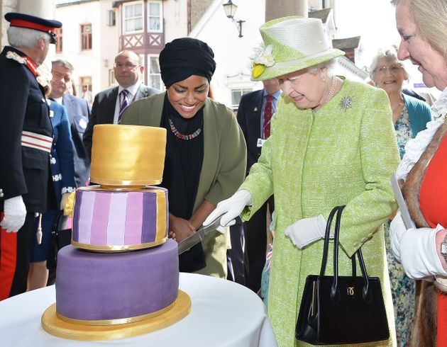 Nadiya presents the Queen with a cake she had made for her 90th birthday last