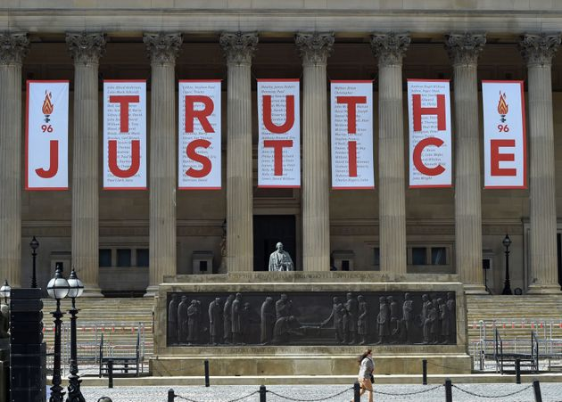 A giant banner wasunveiled at St George's Hall in