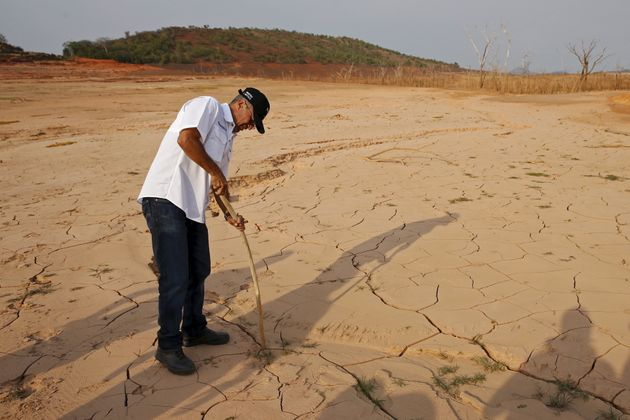 Drought has severely reduced water levels at Venezuela's main dam and hydroelectric plant in Guri, Bolivar...