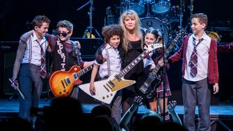 NEW YORK, NY - APRIL 26:  Stevie Nicks of the band Fleetwood Mac performs live on stage with the cast of 'School of Rock - The Musical' at the Winter Garden Theatre on April 26, 2016 in New York City.  (Photo by Matthew Eisman/Getty Images for School of Rock - The Musical)