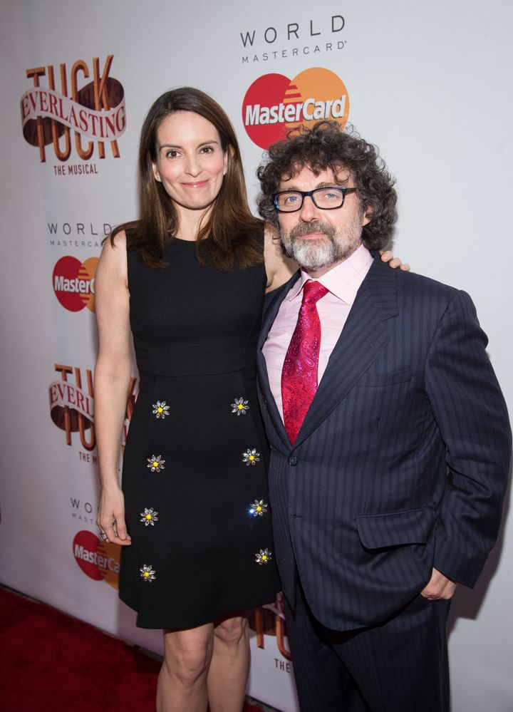"""Tina Fey and Jeff Richmond attend the """"Tuck Everlasting"""" Broadway opening night at The Broadhurst Theatre on April 26, 2016,"""