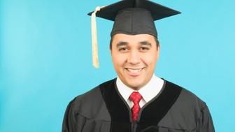 Portrait of man in cap and gown
