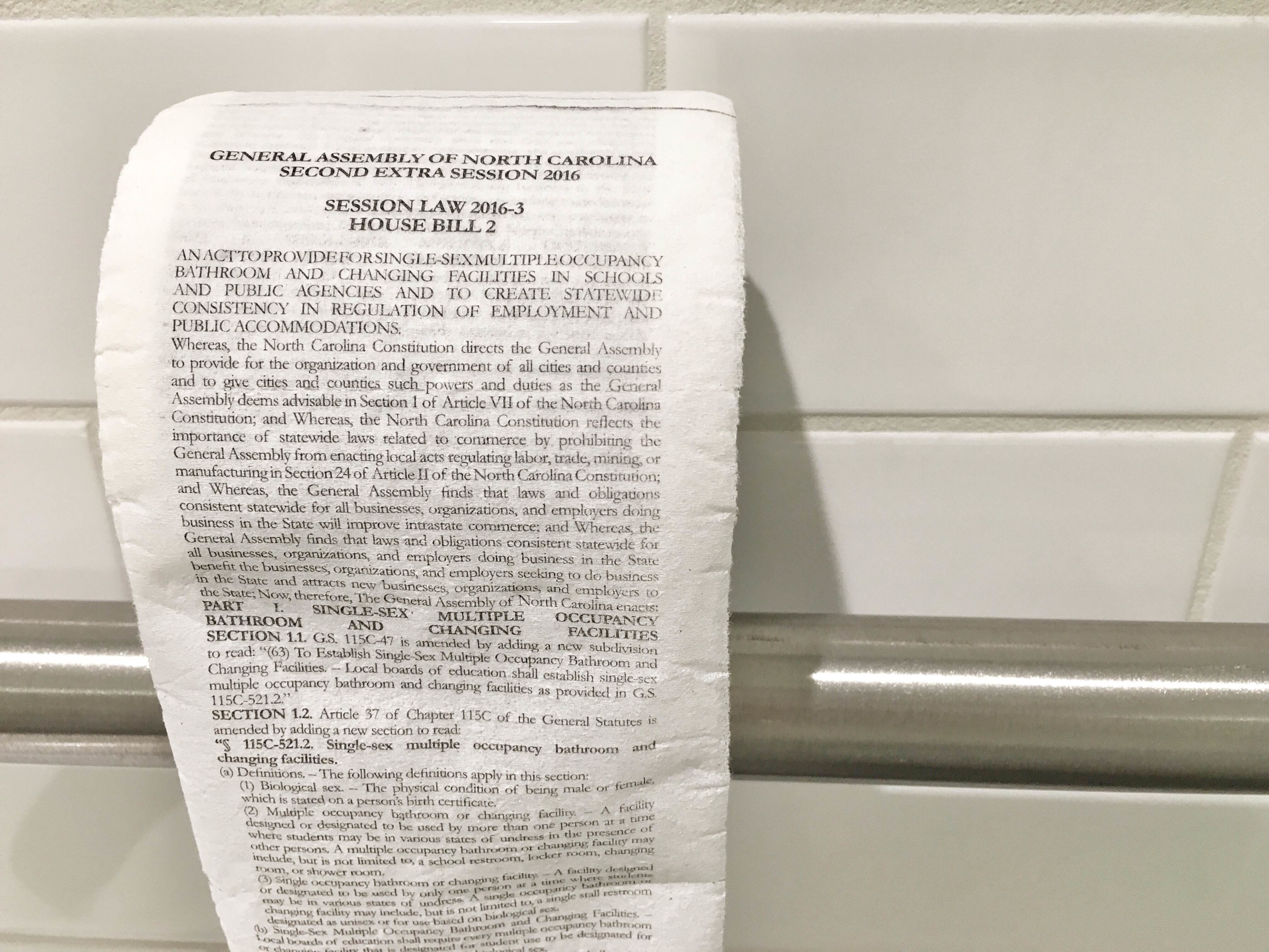 The Huffington Post received this roll of custom-printed toilet paper from North Carolina-based ad agency McKinney.