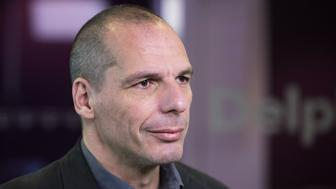 Yanis Varoufakis, former Greek finance minister, pauses during a Bloomberg Television interview in Athens, Greece, on Wednesday, March 16, 2016. The U.K. 'cant really leave' the European Union and the country wants to remain part of the EU single market even if it votes in favor of 'Brexit' in June, Varoufakis said. Photographer: Yorgos Karahalis/Bloomberg via Getty Images