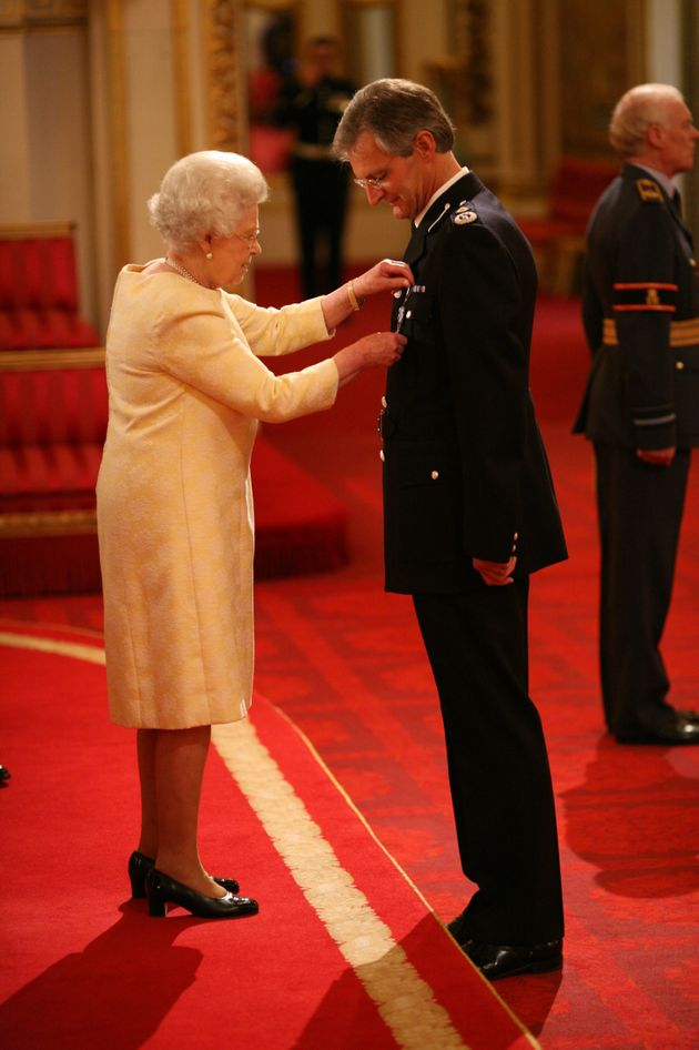 David Crompton is decorated with The Queen's Police Medal by The Queen at Buckingham Palace in November
