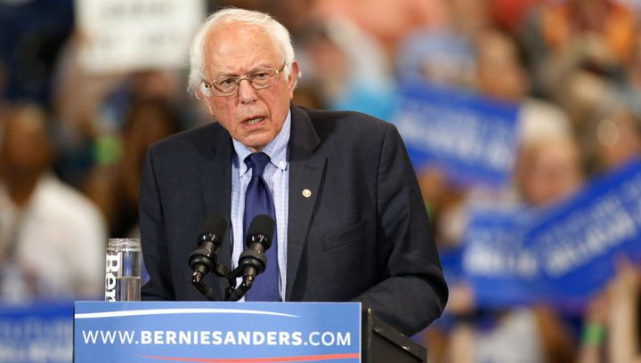 Democratic presidential candidate Bernie Sanders speaks to his supporters during his five-state primary night rally in West Virginia on April 26, 2016.