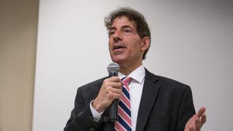 ROCKVILLE, MD-OCT1:  Maryland 8th Congressional District Democratic candidate, state Senator Jamie Raskin, along with fellow candidates, during a forum sponsored by the Greater Capital Area Association of Realtors, October 1, 2015, in Rockville, MD. (Photo by Evelyn Hockstein/For The Washington Post via Getty Images)