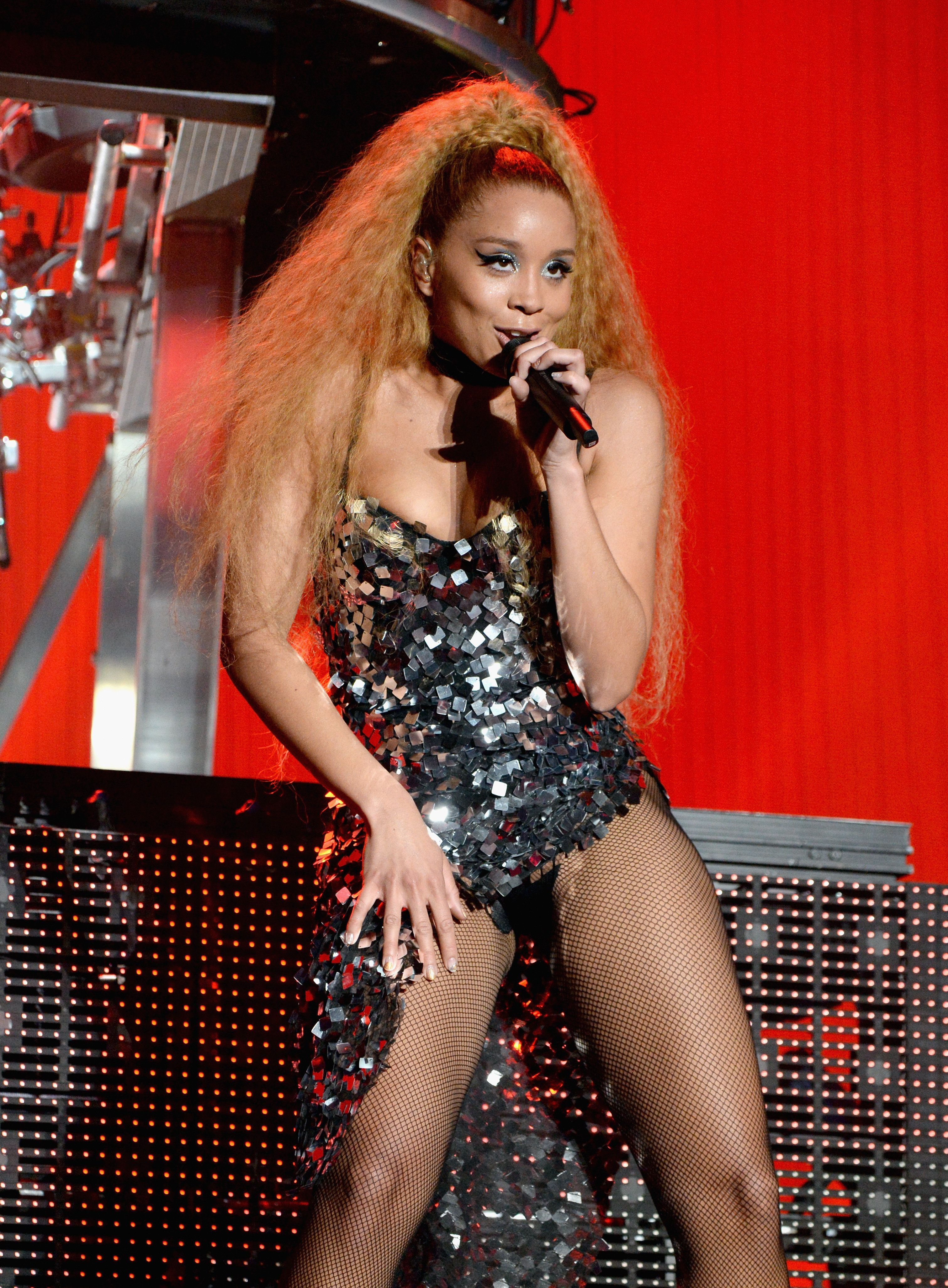 Jillian Hervey of Lion Babe performing onstage at the 2016 Coachella Festival.