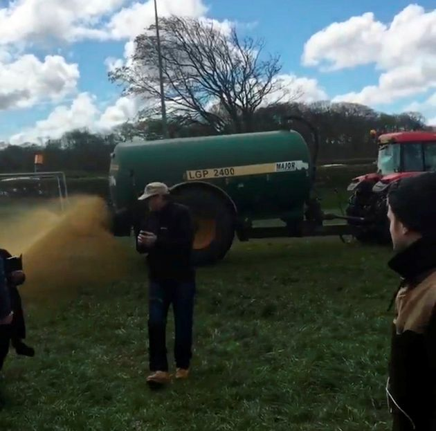 The manure is sprayed around anti-fracking