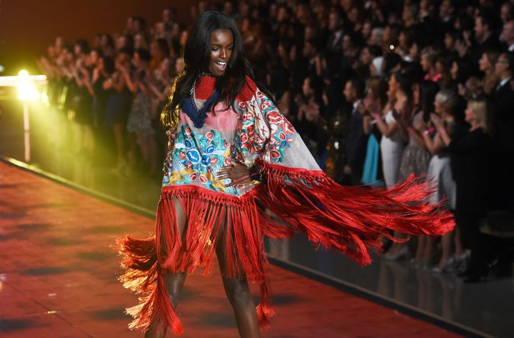 Leomie Anderson walked the catwalk at the 2015 Victoria's Secret Fashion Show.