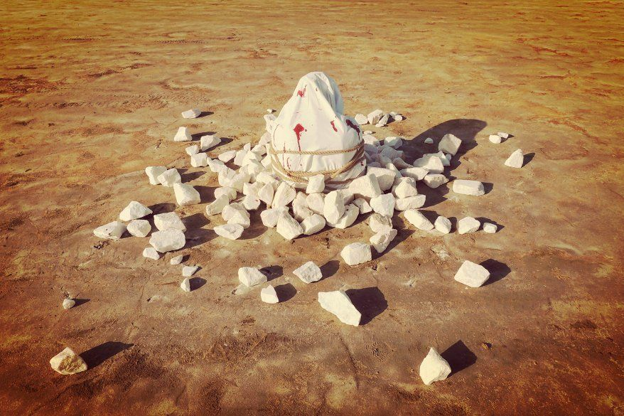 "Pablo Camps is exhibiting his art piece ""Stoning"" at the San Javier Town Hall in Murcia, Spain, this spring."