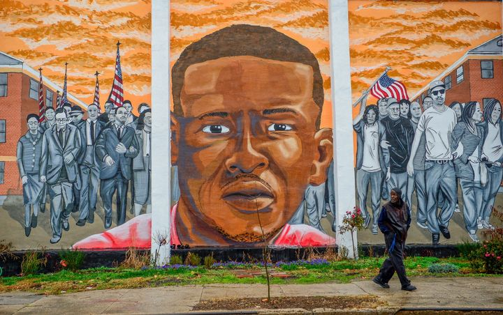 A mural of Freddie Gray, who suffered a fatal injury in police custody in April 2015.