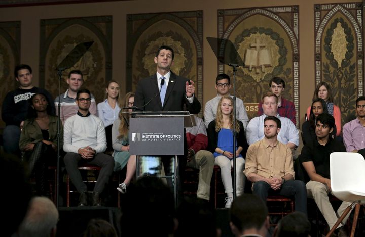Speaker Paul Ryan, speaking to Georgetown students Wednesday, said the Confederate flag is a symbol of division.