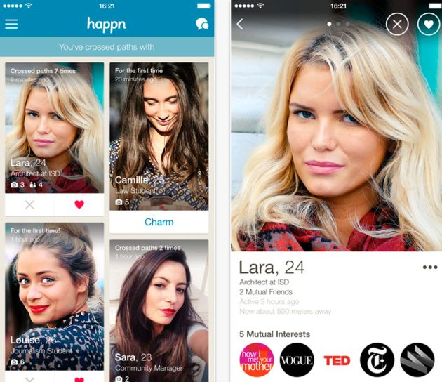 Happn is an app powered by real life interactions and is location-based.
