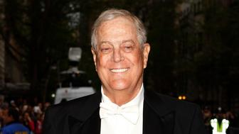 "Businessman David Koch arrives at the Metropolitan Museum of Art Costume Institute Gala Benefit celebrating the opening of ""Charles James: Beyond Fashion"" in Upper Manhattan, New York May 5, 2014.   REUTERS/Carlo Allegri (UNITED STATES  - Tags: ENTERTAINMENT FASHION BUSINESS)"