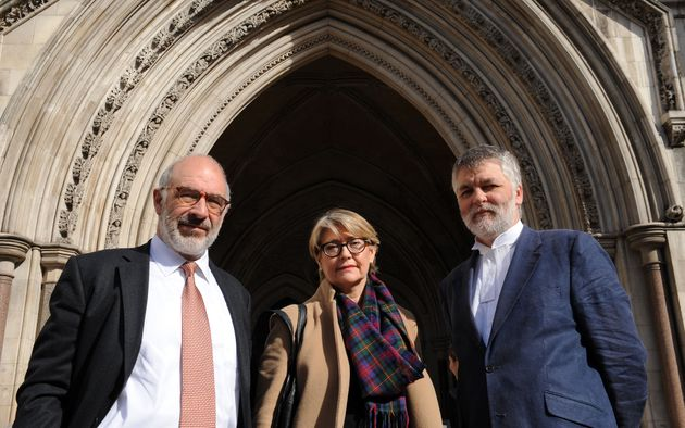 (From the left) Lawyer Richard Stein, Jacquelyn MacLennan and Aidan O'Neill QC outside the High Court...