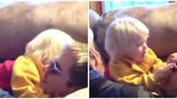 Adorable Toddler Protects His Dad From Pillow