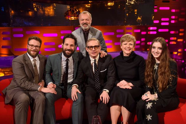 Martin appears on 'The Graham Norton Show' alongside Seth Rogen, Paul Rudd, Maxine Peake and