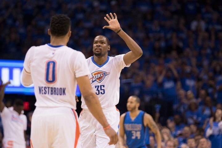 "Kevin Durant averages 49.2 points per 48 minutes during ""clutch time,"" compared to Russell Westbrook's 39.3 points."