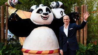 Dreamworks Animation CEO, Jeffrey Katzenberg (R) poses for photographers as he arrives for the European premiere of Kung Fu Panda 3 in London on March 6, 2016. / AFP / LEON NEAL        (Photo credit should read LEON NEAL/AFP/Getty Images)