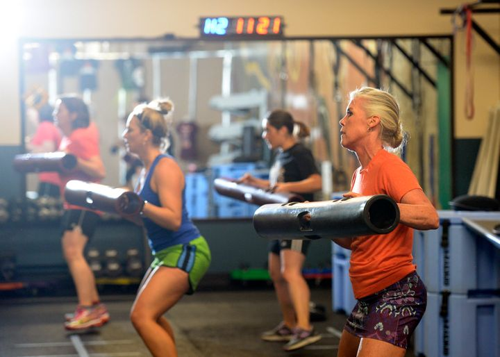 ClassPass users in an exercise class at Bonza Bodies Fitness in downtown Denver.