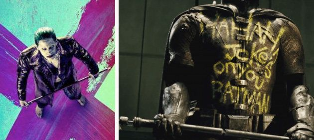 "(L) Jared Leto on ""Suicide Squad"" poster. (R) Scene from ""Batman v Superman."""
