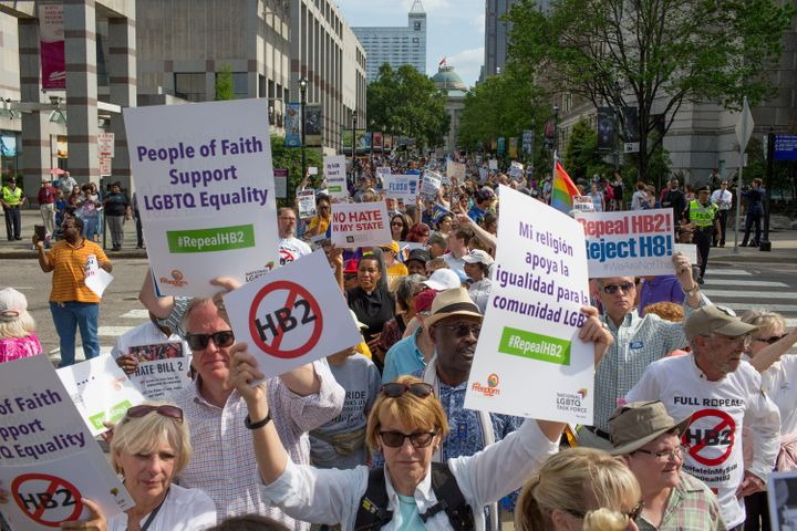 Demonstrators call forfor the repeal of HB2 in Raleigh, North Carolina, on Monday, April 25, 2016.