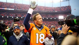 Jan 24, 2016 File photo; Denver, CO, USA; Denver Broncos quarterback Peyton Manning (18) waves to the crowd after the AFC Championship football game against the New England Patriots at Sports Authority Field at Mile High. Mandatory Credit: Mark J. Rebilas-USA TODAY Sports/Files