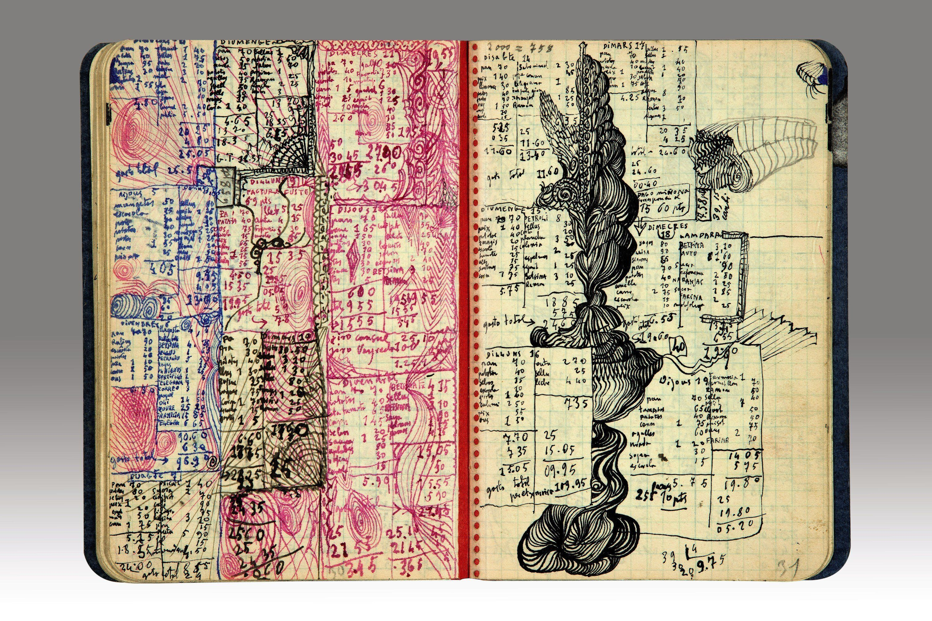 Salvador Dalí's diary, circa 1930-1935, includes 42 pages of ink drawings and sketches, together with his notes, thoug