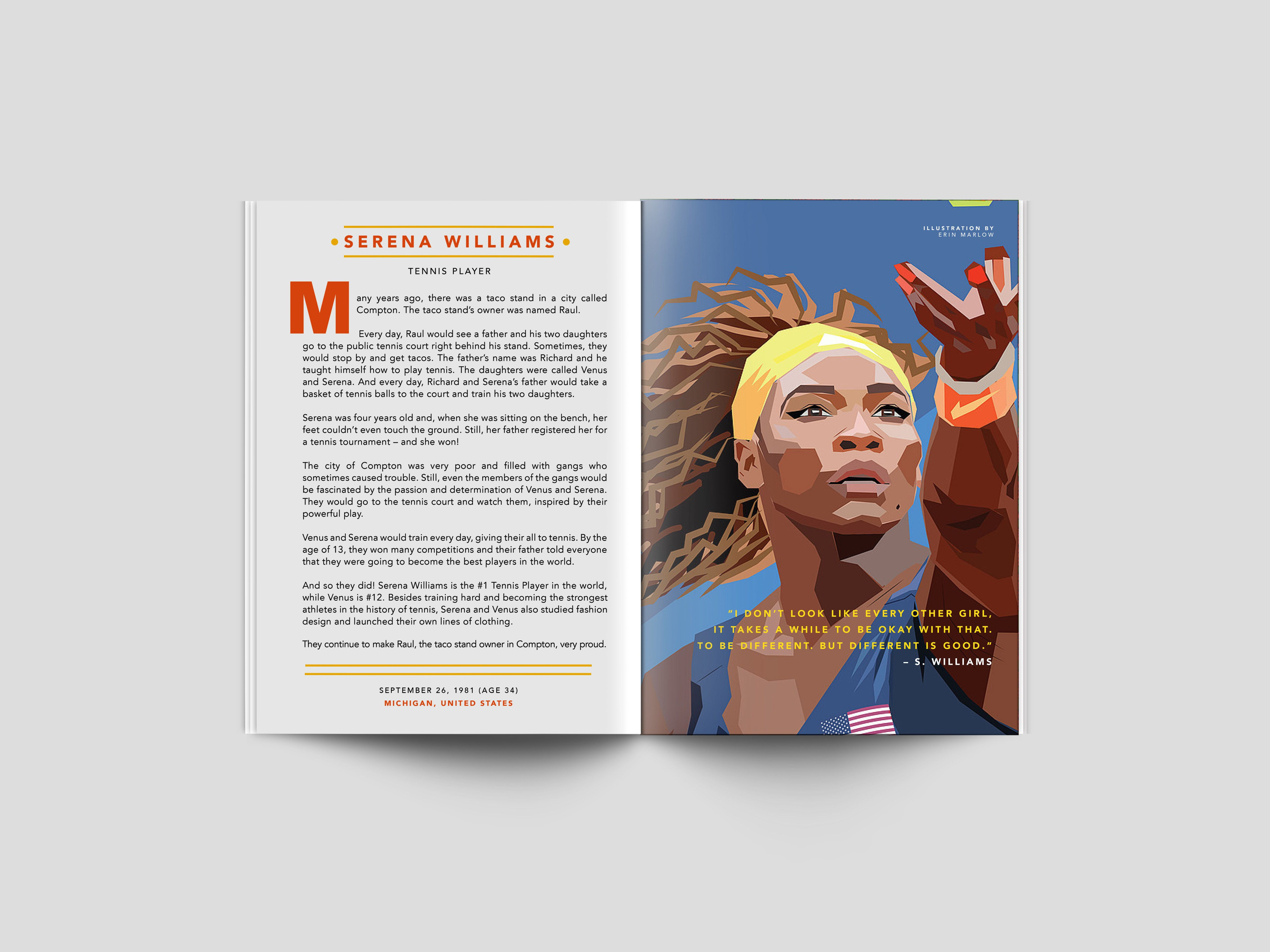 <i>Good Night Stories For Rebel Girls</i> features prominent women of the past and present like iconic tennis player Serena W