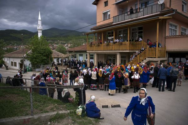 Friends and family gather for Emilia's wedding to fiance Tsanko Perchinkov in the village of Draginovo, about 60 miles s
