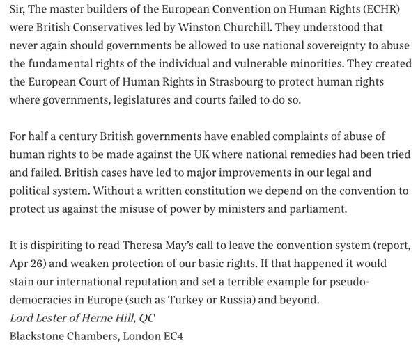 Lord Lester's letter to The Times about Theresa May's suggestion that Britain could not only abolish...