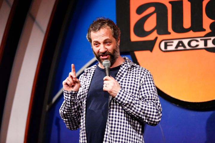 Judd Apatow, pictured during a comedy routine April 20, pointed out the similarities -- and perhaps one key difference -- bet