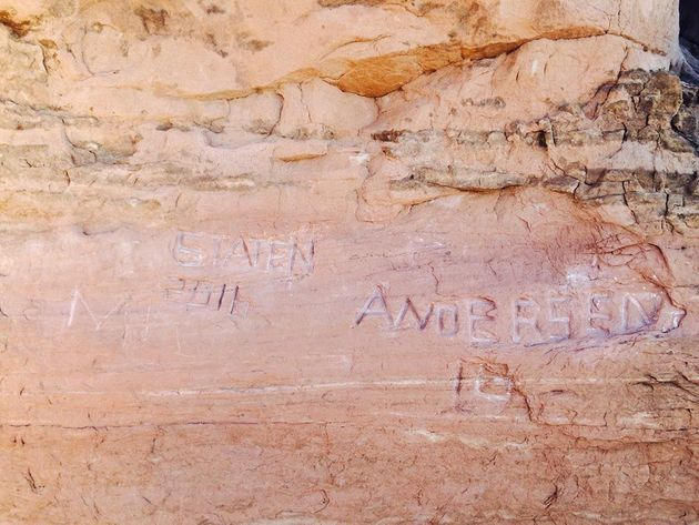 Large graffiti carved at Arches National Park in Utah