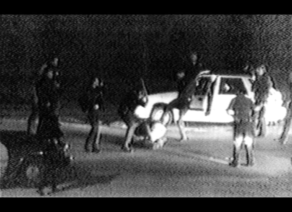 This March 31, 1991 image made from video shot by George Holliday shows police officers beating a man, later identified as Ro