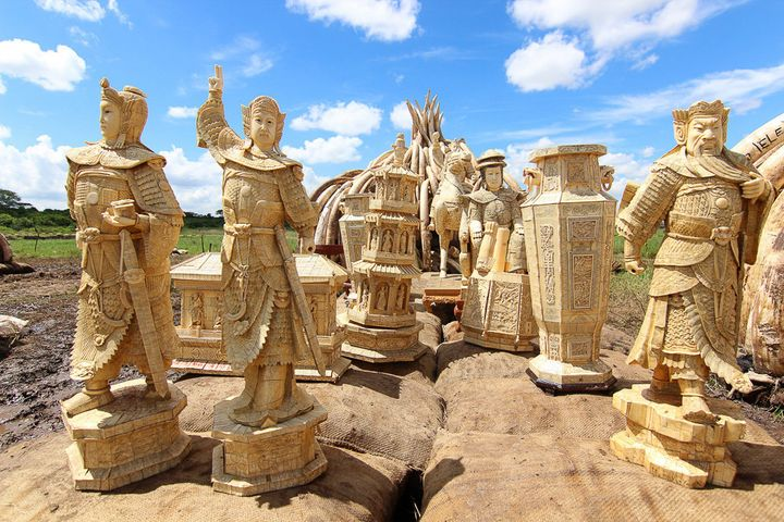 Ivory statues atop a pyre, which will be set alight alongside 105 tons of confiscated elephant tusk.