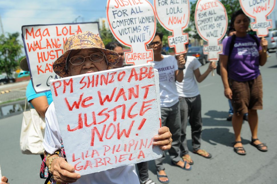 Lolas protest in front of the Japanese Embassy on August 14, 2015.