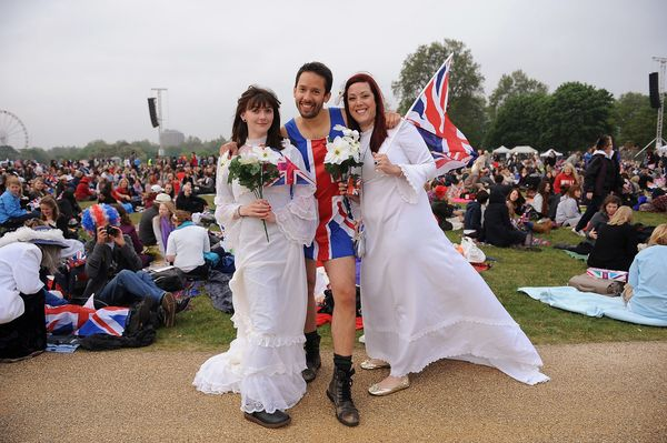 More fans dress up to celebrate the royal wedding.