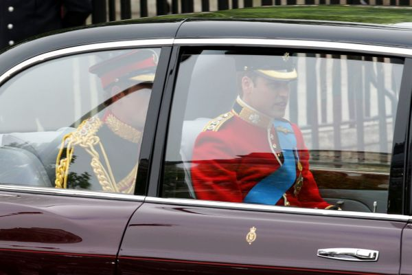 Prince William and Prince Harry arrive at Westminster Abbey.
