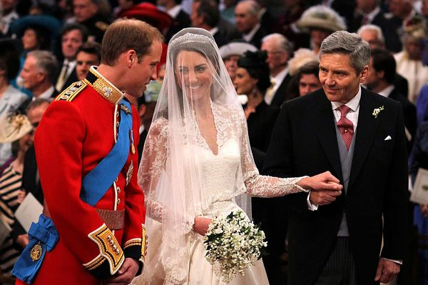 Will, Kate, and her father Michael during the ceremony.