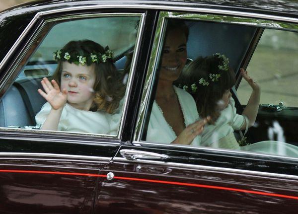 Pippa Middleton, Grace Van Cutsem (L) and Eliza Lopes arrive.