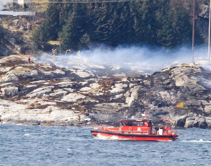 A helicopter crashed off the west coast of Norway on Friday. There were 11 passengers and two crew members on board.