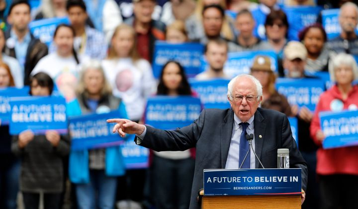 Democratic presidential candidate Sen. Bernie Sanders (I-Vt.) speaks during a rally in Springfield, Oregon, Thursday, April 2