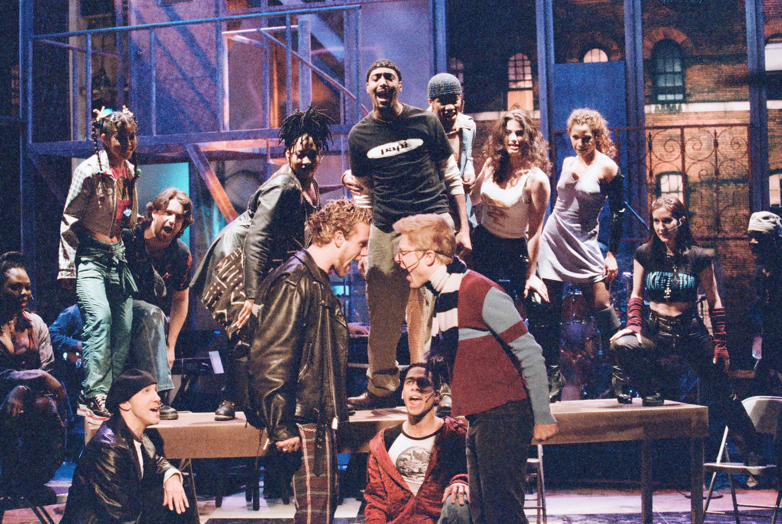 """The cast of """"Rent"""" on """"The Tonight Show"""" in 1996."""