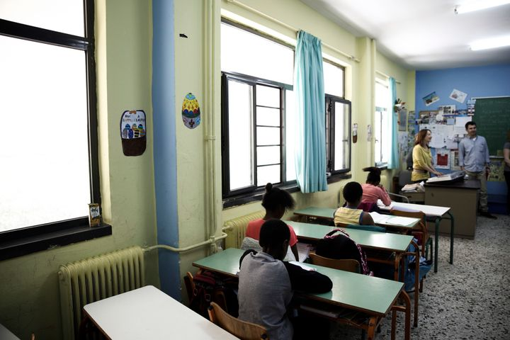 The school teaches both students who just arrived in Greece and children of migrants who have been in the country for a while